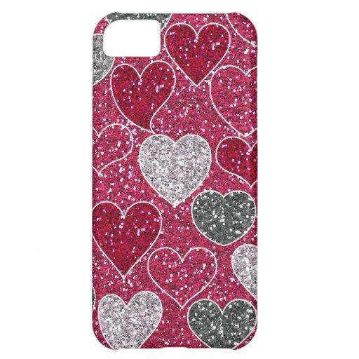 Corações de Bling do amor do brilho do feliz dia d Capa Iphone 5C