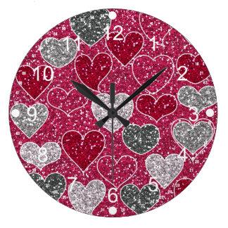 Corações de Bling do amor do brilho do feliz dia d Relógios De Pendurar