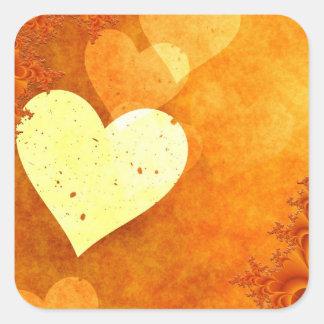 Corações de flutuação alaranjados e amarelos adesivo quadrado