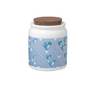 Corações de flutuação azuis jarros de doces