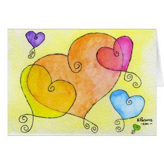 Corações de flutuação cartão comemorativo