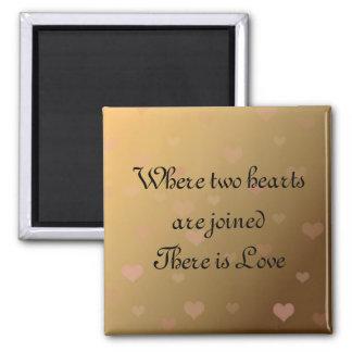 Corações de flutuação com dizer do amor ímã quadrado