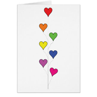 Corações de flutuação do balão no branco, alto - cartão comemorativo