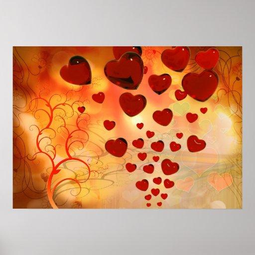 Corações de flutuação entre árvores lunáticas poster