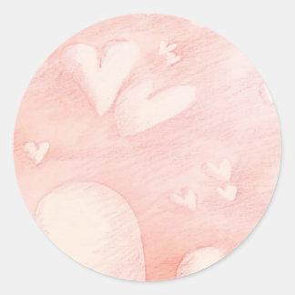 Corações de flutuação - etiqueta adesivos em formato redondos