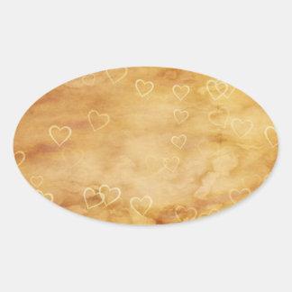 Corações de flutuação no fundo Antiqued Adesivo Oval