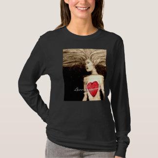Corações de flutuação pela luva longa T da mulher Camiseta