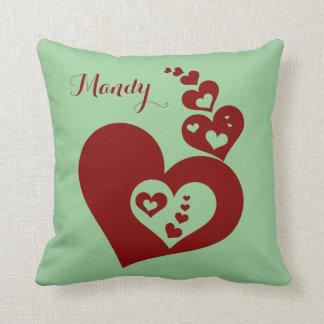 Corações de flutuação, personalizados, musgo & travesseiro