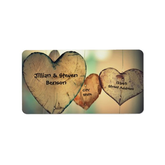 Corações de madeira rústicos - etiquetas de etiqueta de endereço