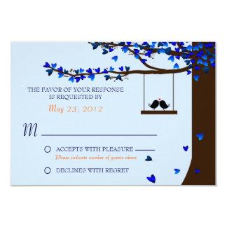 Corações de queda RSVP azul dos pássaros do amor Convite 8.89 X 12.7cm
