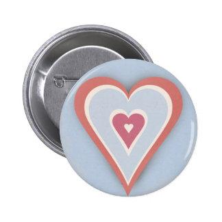 Corações do amor - branco e azul vermelhos bóton redondo 5.08cm