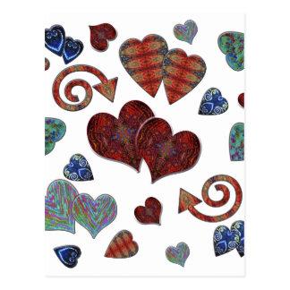 Corações do amor cartão postal