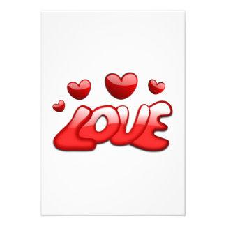 Corações do amor do dia dos namorados convite personalizados