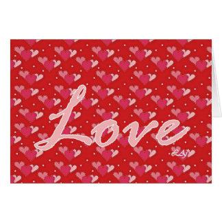 Corações do amor do dia dos namorados no cartão