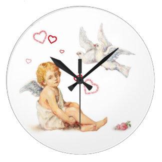 Corações do anjo, das pombas e dos rosas do Victor Relógio Para Parede