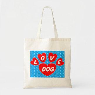 Corações do cão do amor da bolsa vermelhos no azul