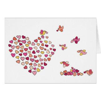 Corações do n dos pássaros cartão comemorativo