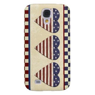 Corações do país da bandeira americana patrióticos capas samsung galaxy s4