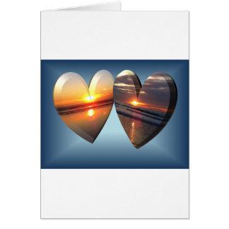 Corações do por do sol cartão comemorativo