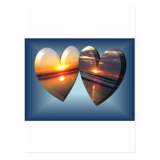 Corações do por do sol cartão postal