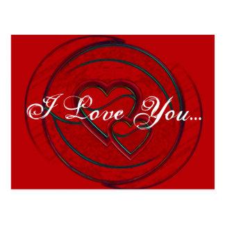 Corações dobro eu te amo cartao postal