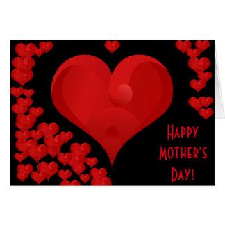 Corações doces românticos do amor do dia das mães cartão comemorativo