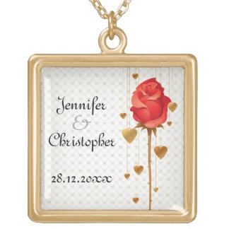 Corações dourados do amor e casamento vermelho colar banhado a ouro