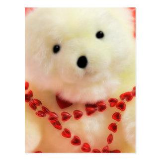 Corações e amor do urso para o dia dos namorados cartão postal