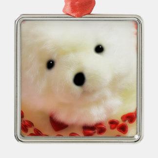 Corações e amor do urso para o dia dos namorados ornamento quadrado cor prata