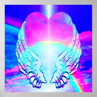 Corações e asas do anjo posteres