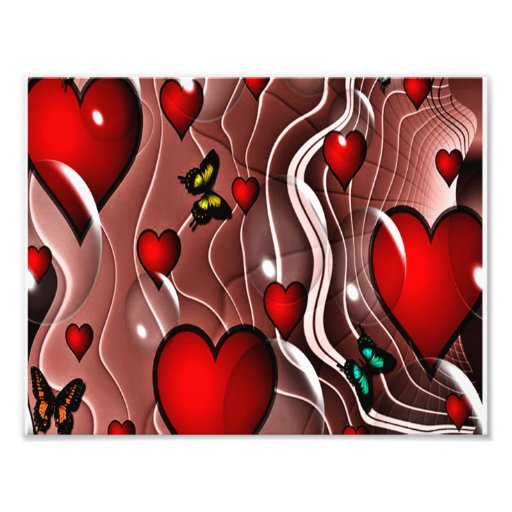 Corações e borboletas em um fundo abstrato fotos