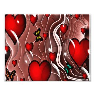Corações e borboletas em um fundo abstrato impressão de foto