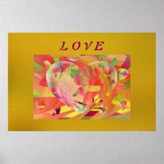 Corações e cores do Sunburst das flores Impressão