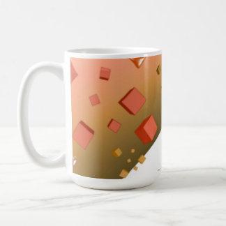 Corações e cubos de flutuação alaranjados caneca de café