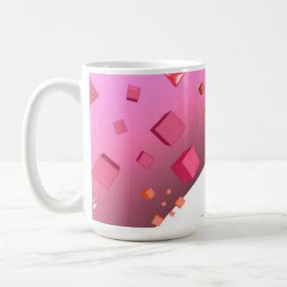 Corações e cubos de flutuação caneca de café