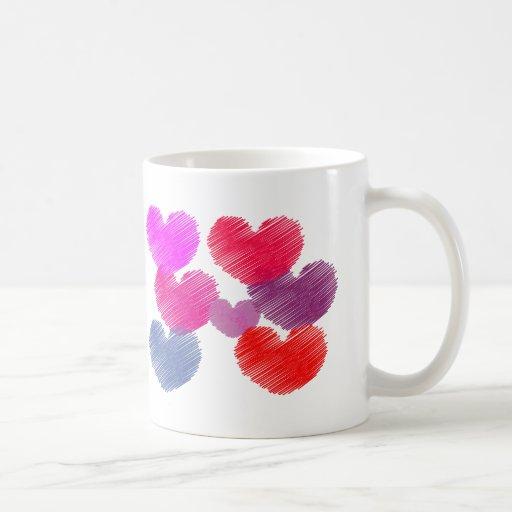 Corações e dia dos namorados do amor canecas