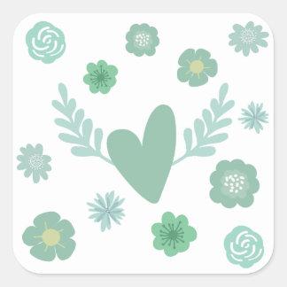 Corações e flores adesivo quadrado