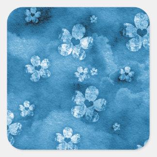 Corações e flores azuis adesivo quadrado
