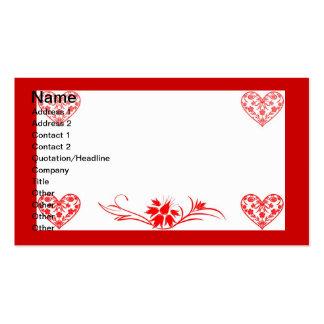 Corações e flores cartão de visita