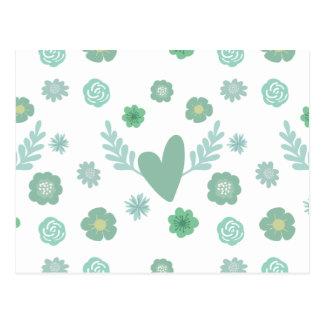 Corações e flores cartão postal