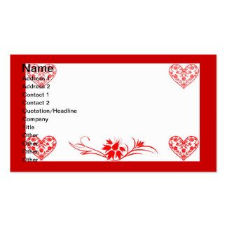 Corações e flores cartao de visita