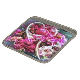 corações e flores cor-de-rosa de brilho do amor bolsa de iPad