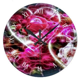 corações e flores cor-de-rosa de brilho do amor relógios para pendurar