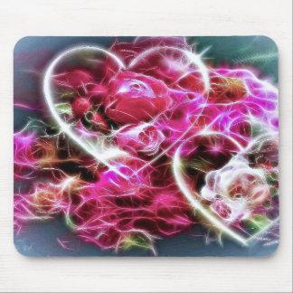 corações e flores cor-de-rosa de brilho do amor mousepads