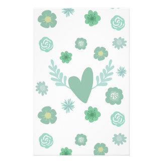 Corações e flores papelaria