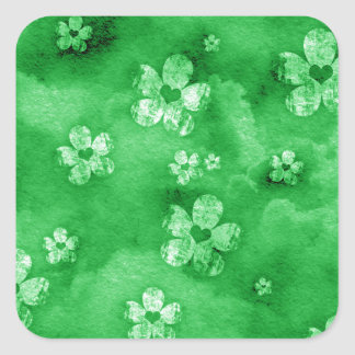 Corações e flores verdes adesivo em forma quadrada