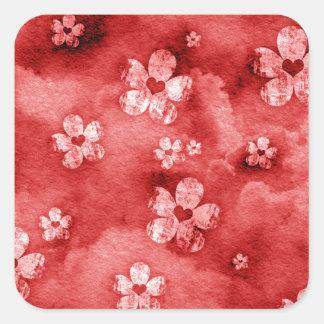 Corações e flores vermelhos adesivos quadrados