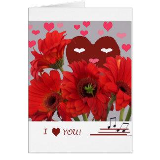 Corações e namorados das flores cartão