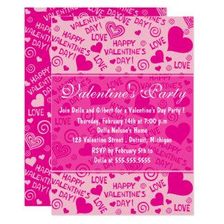 Corações e partido cor-de-rosa do dia dos convite 12.7 x 17.78cm