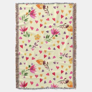 Corações femininos e flores da aguarela manta